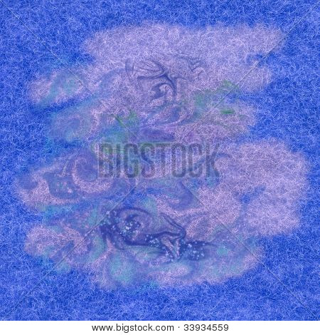 Abstract paint background: watercolor on a fabric, natural woollen mohair poster