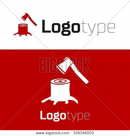 Red Wooden Axe In Stump Icon Isolated On White Background. Lumberjack Axe. Axe Stuck In Wood. Logo D