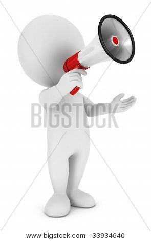 3d white people megaphone