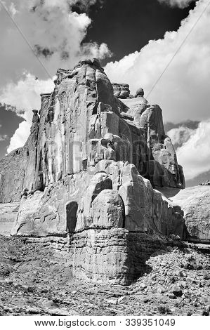 Black And White Picture Of Rock Formations In Arches National Park, Utah, Usa.