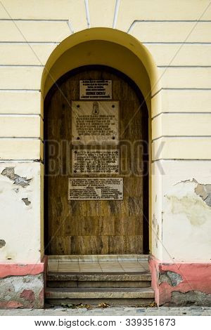 Oravita, Romania - September 09, 2019: The Oravita Theater Was Built In 1816 Following The Model Of