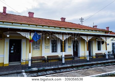 Oravita, Romania - September 09, 2019: The Oravita Railway Station Built In 1849 Is The First Elevat