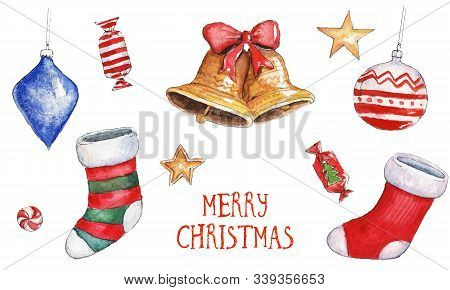 Watercolor Christmas Illustration With Christmas Stockings, Bells, Candies, Golden Stars And Winter