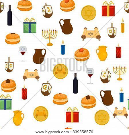 Illustration On Theme Big Colored Pattern Hanukkah, Seamless Set Clay Jug. Seamless Pattern Consisti
