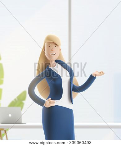 Young Business Woman Emma Standing In The Office Interior. 3d Illustration