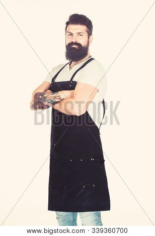 Being Serious At Work. Serious Man Keeping Arms Crossed. Bearded Man With Serious Look Wearing Work