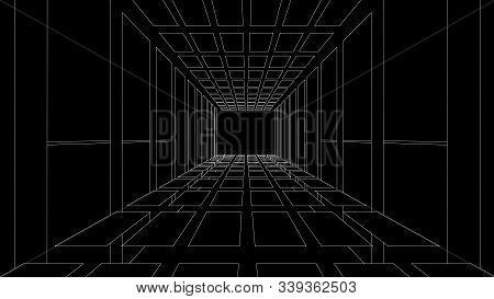 Vector Perspective Grid. Tunnel. Detailed Lines On Black Background.