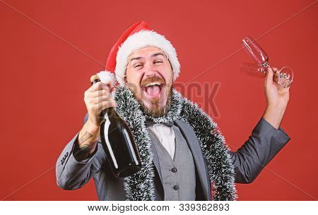 Christmas Party Invitation. Man Bearded Hipster Santa Hold Bottle. Corporate Christmas Party. Lets C