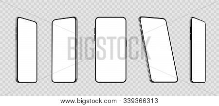 Realistic Set Smartphones At Different Angles Mockup. Cellphone With Blank Display. Mobile Phone 3d