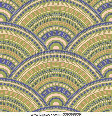 Gypsy Concentric Elements Batik Print Vector Seamless Pattern. Ethnic Motifs Intricate Line Art Geom