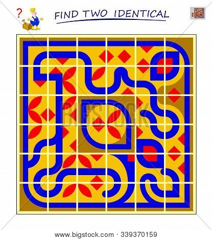 Logic Puzzle Game For Children And Adults. Help The Worker Find 2 Identical Tiles. Printable Page Fo
