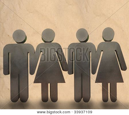 man and woman holding hand show team work in business