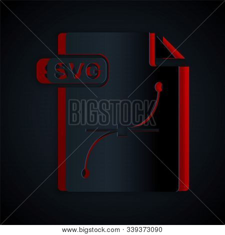 Paper Cut Svg File Document. Download Svg Button Icon Isolated On Black Background. Svg File Symbol.