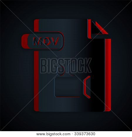 Paper Cut Mov File Document. Download Mov Button Icon Isolated On Black Background. Mov File Symbol.