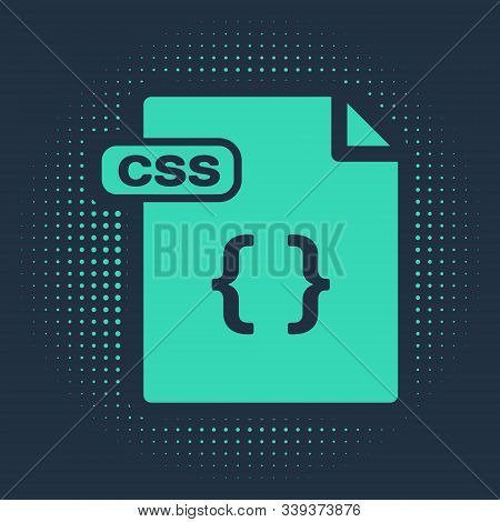 Green Css File Document. Download Css Button Icon Isolated On Blue Background. Css File Symbol. Abst