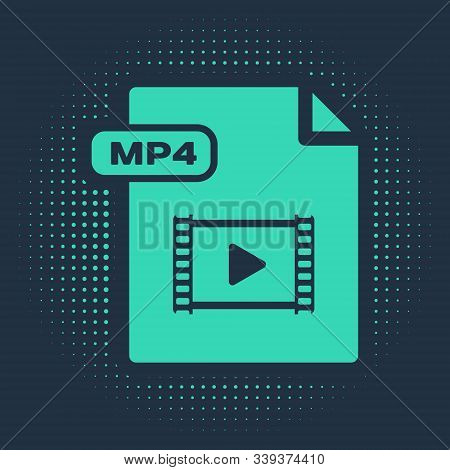 Green Mp4 File Document. Download Mp4 Button Icon Isolated On Blue Background. Mp4 File Symbol. Abst