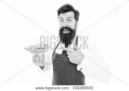 Taste A Little. Happy Cook Point Finger At Small Plate. Bearded Man Smile With Healthy Snack. Enjoyi