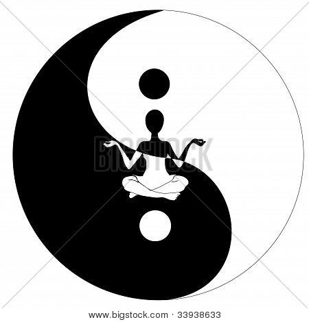 yin yang symbol and Yoga, vector image poster