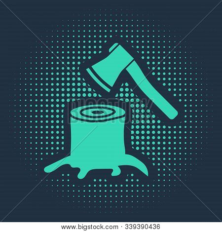 Green Wooden Axe In Stump Icon Isolated On Blue Background. Lumberjack Axe. Axe Stuck In Wood. Abstr