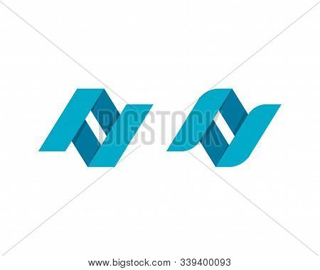 Twisted Letters N On White Background. Abstract Business Logo Design.