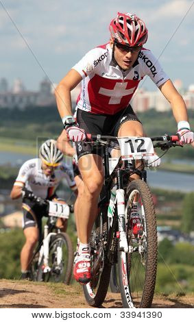 MOSCOW, RUSSIA - JUNE 9: Reto Indergand (Switzerland, right) and Julian Schelb (Germany) in the European Mountain Bike Cross-Country Championship in Moscow, Russia at June 9, 2012