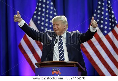 Donald Trump Acknowledges The Crowd After Addressing A Gop Fundraising Event, Tuesday, Aug 11, 2015,
