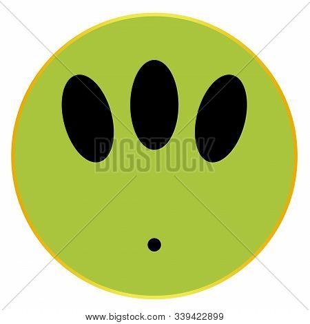 An Alian Smile Face Button Isolated On A White Background