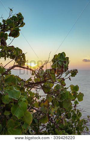 Beautiful Sunset Over The In Uluwatu, Bali
