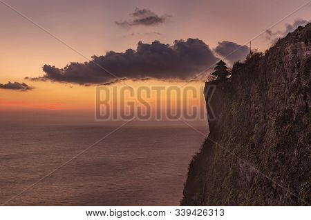 Sunset View Over The Sea From Uluwatu Temple, Bali Island