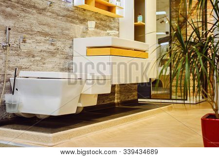 Modern Bathroom Interior. Simple Style Interior Of Bathroom With Glass Shower, White Sink, Ceramic T
