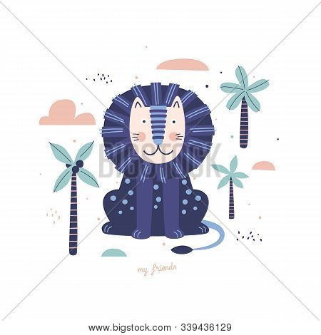Cute Blue Lion Snout Among Palm Trees. Funny Cartoon Wild Beast On Isolated Background. Fabulous Afr