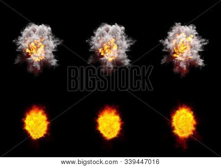 Many Round Explosions Of Anti Air Gun Shell Hit Or View From Top On Bang Or Rocket Interception Blas