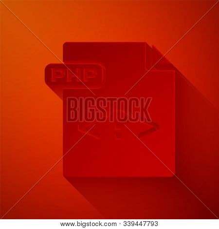 Paper Cut Php File Document. Download Php Button Icon Isolated On Red Background. Php File Symbol. P