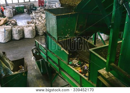 Conveyor Belt At A Garbage Recycling Plant. Equipment For Waste Sorting. The Concept Of Waste Manage