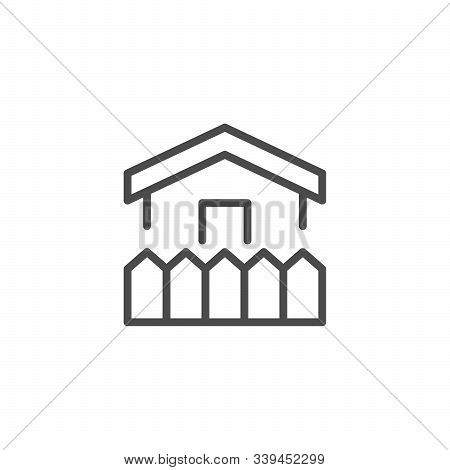 House And Fence Line Outline Icon Isolated On White. Exterior Of Home. Wood Board Object. Garden, Ba