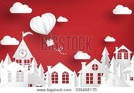Urban Landscape Of City Village With Hot Air Balloon In Heart Shape. Design For Valentines Day Greet