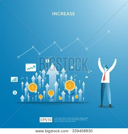 Business Profit Growth, Sale Grow Margin Revenue With Dollar Symbol. Income Salary Rate Increase Con