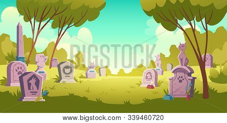 Pet Cemetery Day Landscape, Tombstone With Footprint Inscription And Animal Monument, Cartoon Vector