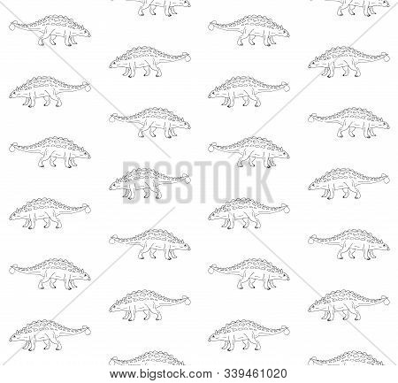 Vector Seamless Pattern Of Hand Drawn Doodle Sketch Ankylosaurus Dinosaur Isolated On White Backgrou