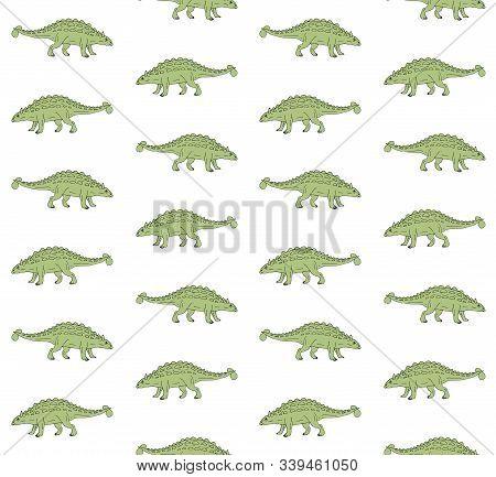 Vector Seamless Pattern Of Hand Drawn Doodle Sketch Green Ankylosaurus Dinosaur Isolated On White Ba