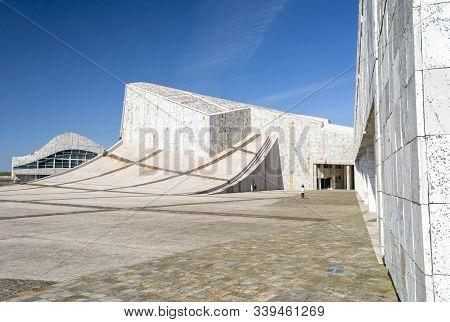 Santiago De Compostela, Spain, 04/2018: Curvy Architecture Of City Of Culture Of Galicia, Complex Of