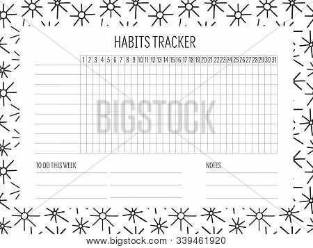 Habit Tracker Blank With Hand Drawn Doodle Texture. Bullet Journal Template. Monthly Planer. Vector