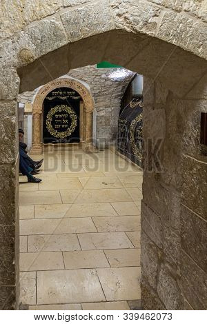 Jerusalem, Israel, December 07, 2019 : Interior Of The Jewish Part Of The Tomb Of The Prophet Samuel