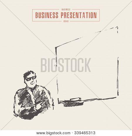 Business Presentation Businessman Copyspace Drawn Vector Sketch