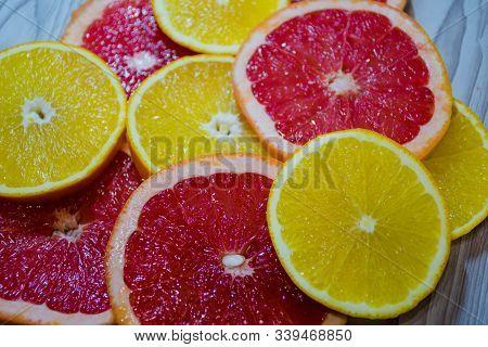 Citruses, Chopped Oranges And Grapefruits, Citruses, Orange, Oranges , Grapefruit, Background , Frui