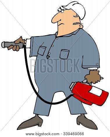Illustration Of A Man Wearing Coveralls And A Hard Hat Pointing A Red Fire Extinguisher.