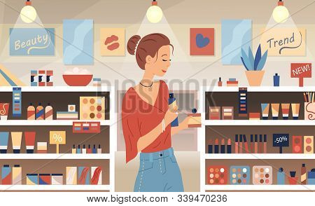 Cosmetic Store, Makeup, Skincare, Beauty Concept. Perfumer Girl Near Shelves With Perfumes. Young Wo