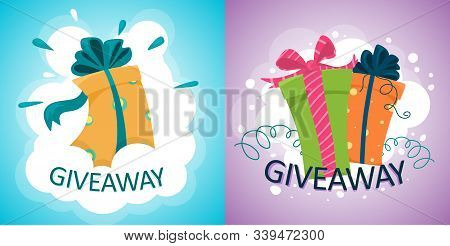 Banner With Gift Offers, Giveaways And Gift Prizes. Competition Or Quiz Announcement. Vector Illustr