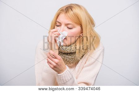 How To Bring Fever Down. Sick Girl With Fever. Girl Sick Hold Thermometer And Tissue. Measure Temper