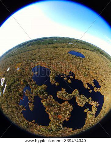 Fisheye Drone View Over The Bog Area In Estonia
